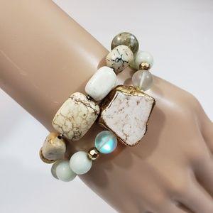 Women White Stretch Bracelets Lot of 2 Beaded